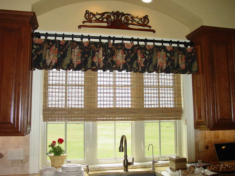 Window Valance in French Country Kitchen. kitchen with window