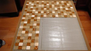 Bondera tiled on kitchen island