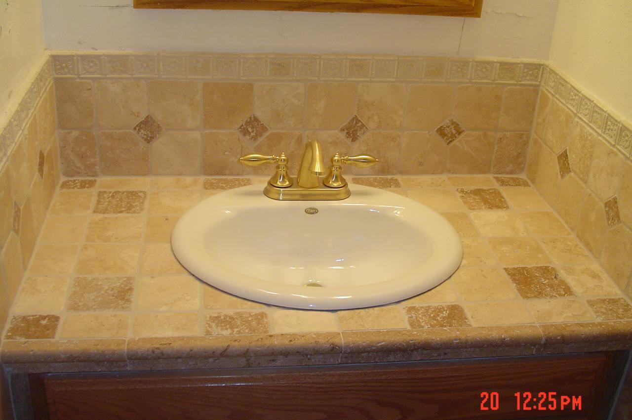 Tile Over Bathroom Vanity The Home Makeover Diva - Pictures of tiled bathroom vanity tops