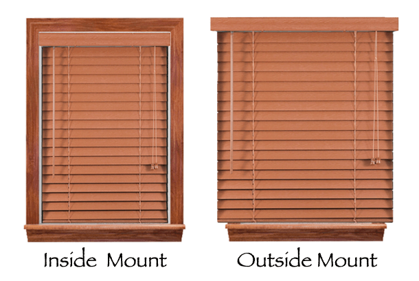 outside mount blind is mounted either on or the window frame